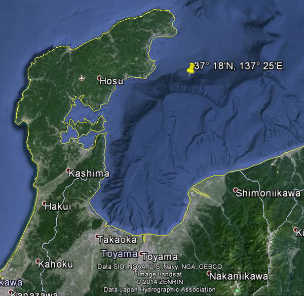 Approximate location of USS Bonefish