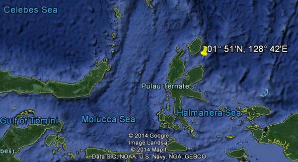 Approximate location of USS Capelin (rough estimate)