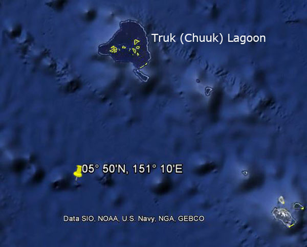 Approximate location of USS Corvina
