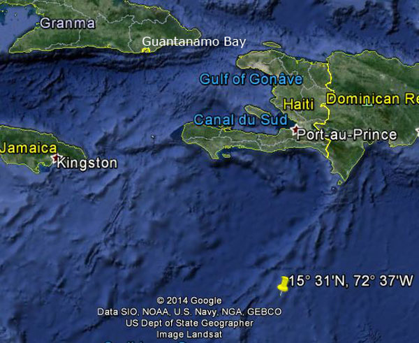 Approximate location of USS Dorado