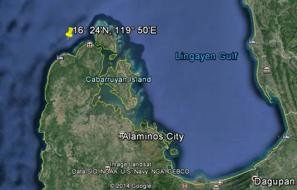 Approximate location of USS Grayling (rough estimate)