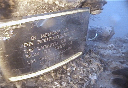 USS Lagarto Plaque on Wreck