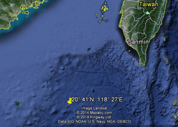 Approximate location of USS Shark (SS-314)